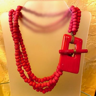 Murano Glass Clasp Red Necklace