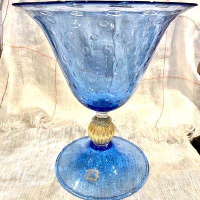 RCR Murano Footed Blu Vase